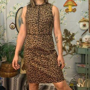 J Crew structured leopard print midi bodycon dress